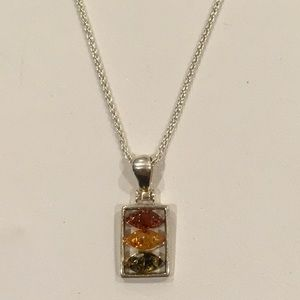 Sterling Silver Multi-Color Amber Necklace